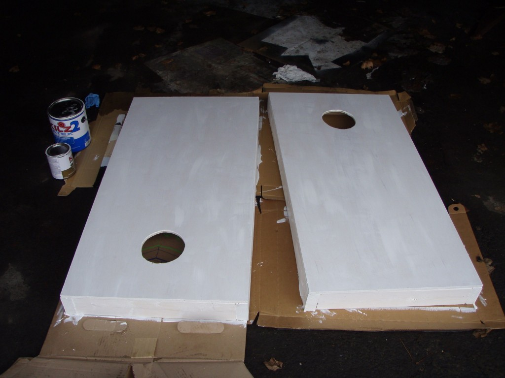 Corn hole priming 1024x768 - How to make your own Cornhole board