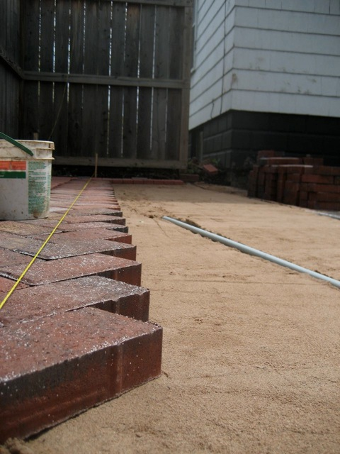 Close up of patio going down