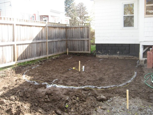 Patio soil tilled and marked - Patio and Back Yard Reveal