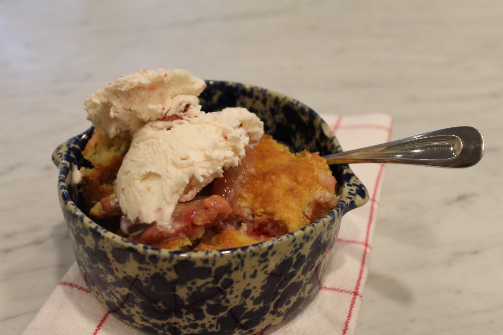Rhubarb and strawberry cobbler