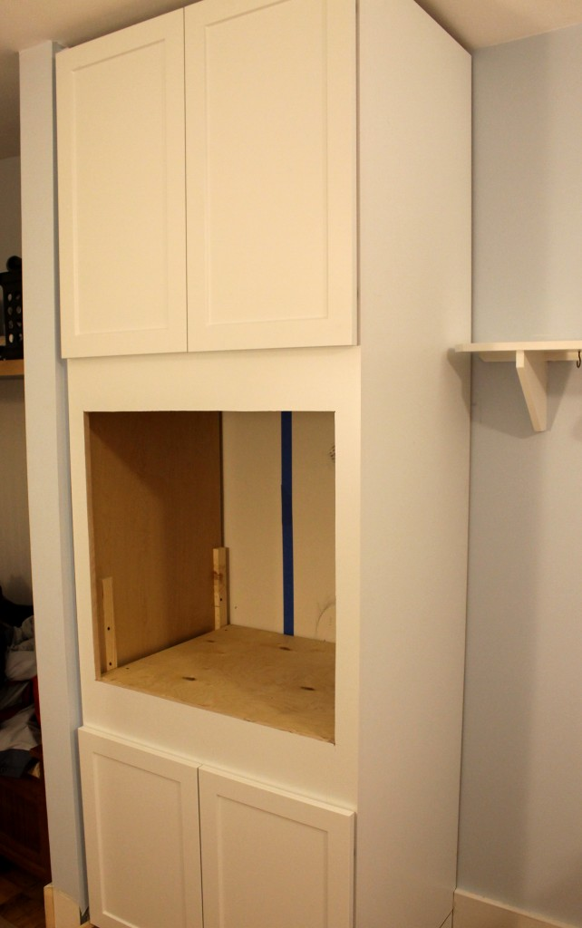 cabinet in place 642x1024 - We Installed Our New Oven!!!