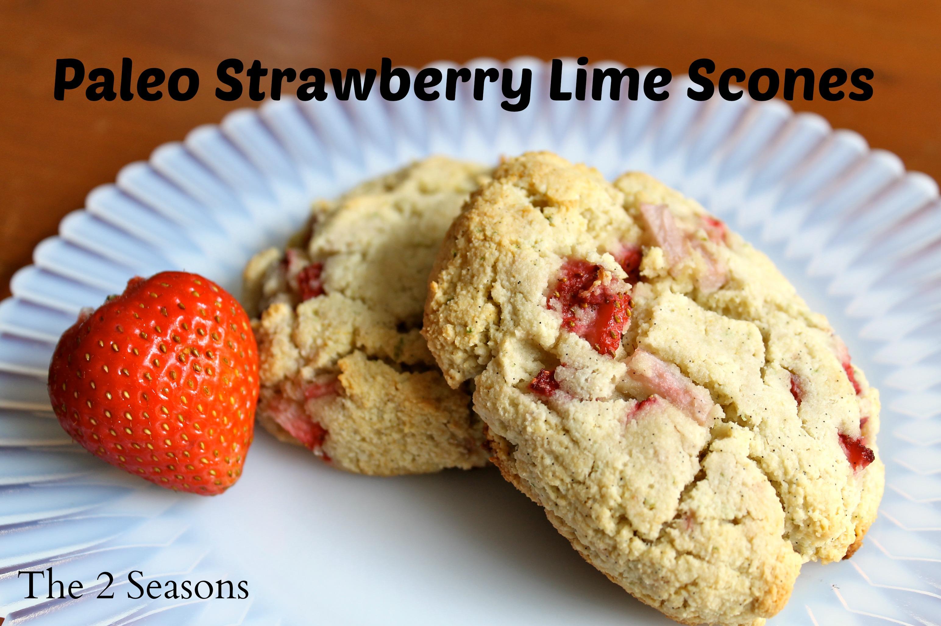 Strawberry Scones - Paleo Strawberry/Lime Scones
