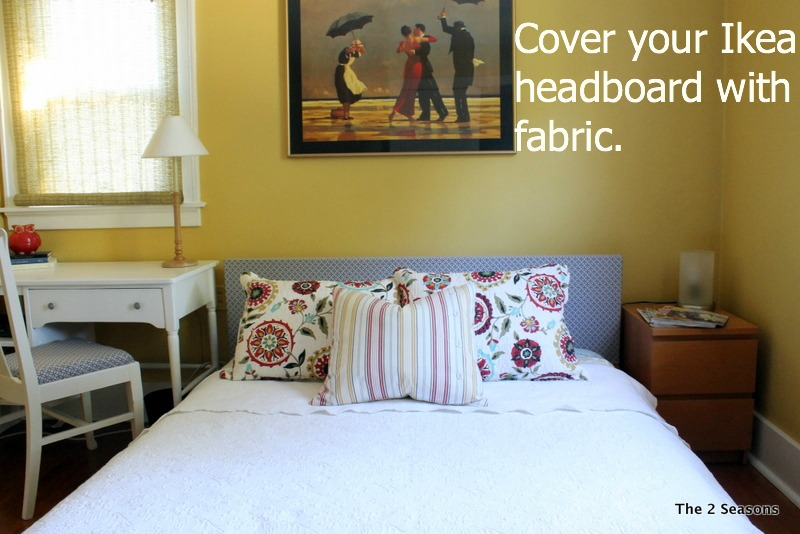 Ikea headboard covered with fabric