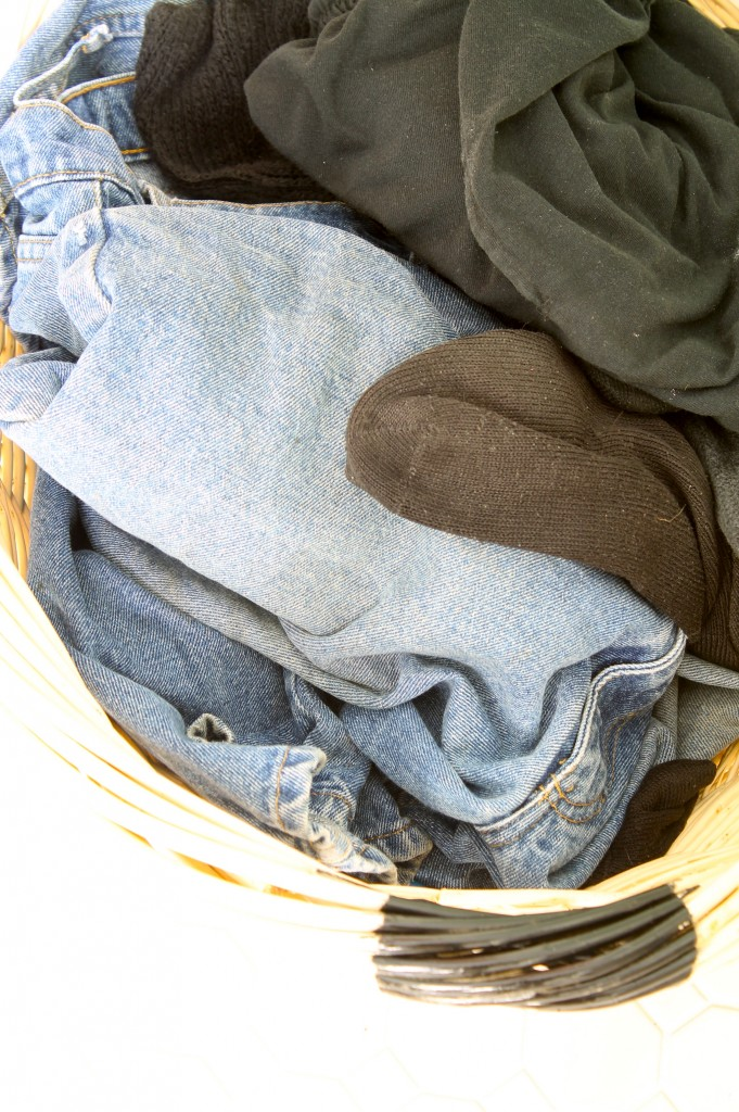 Add some organization to the laundry room - Whites and darks laundry basket ...