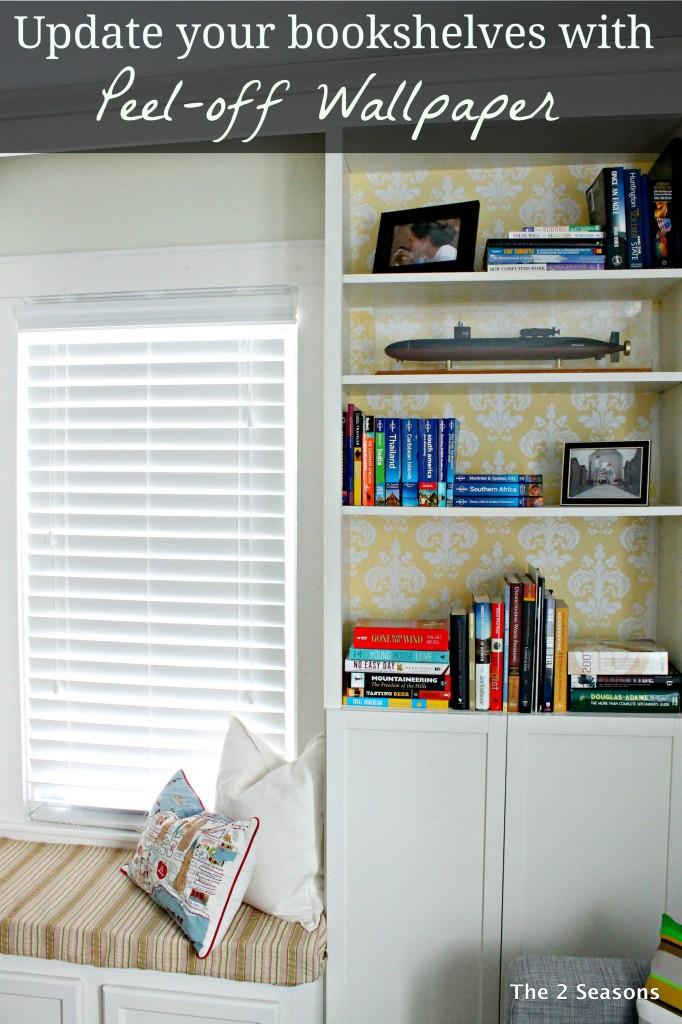 Update bookshelves with Peel off wallpaper 682x1024 - Bookshelf Update With Peel-off Wallpaper