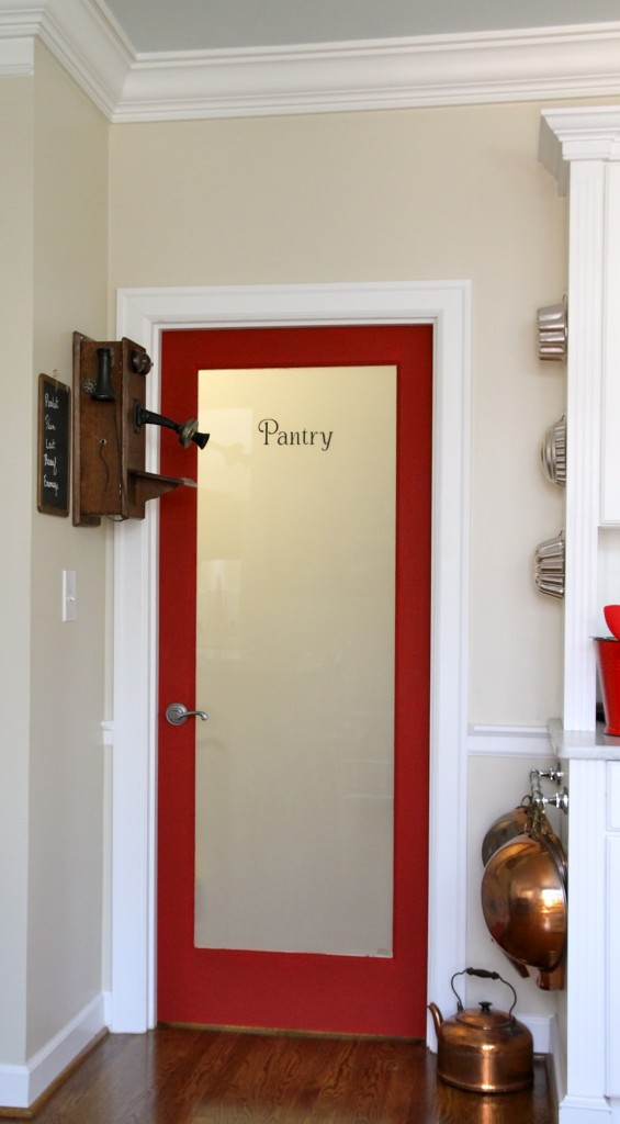 Red pantry door