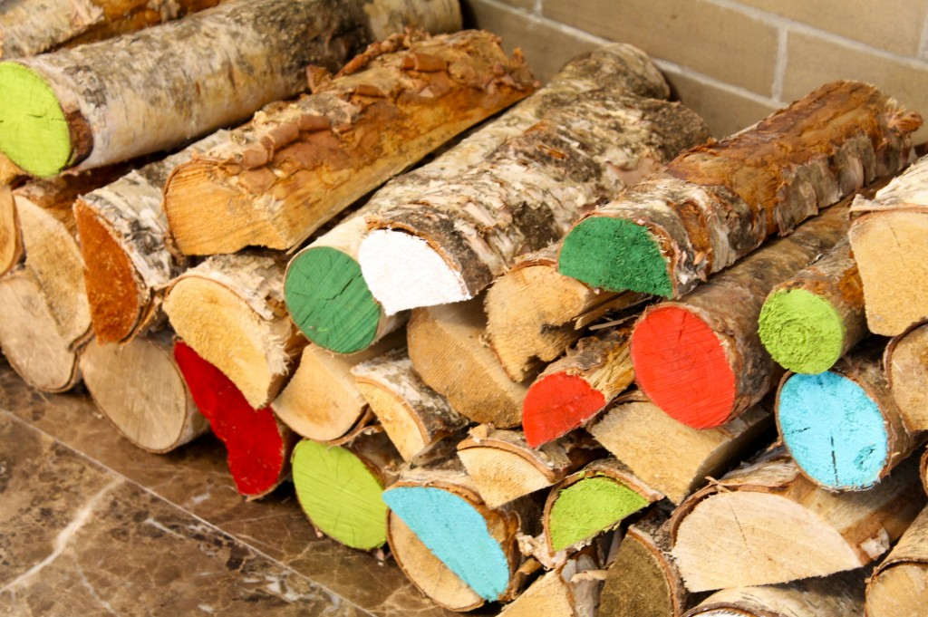 Painted fireplace logs
