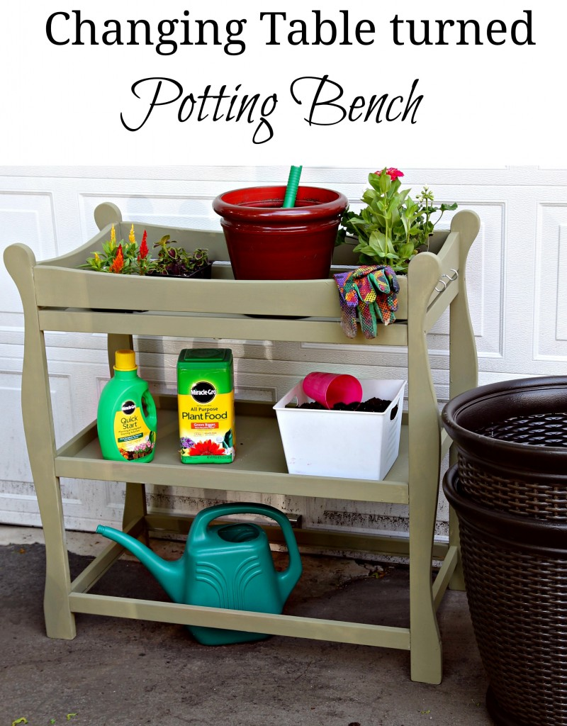Changing table turned potting bench