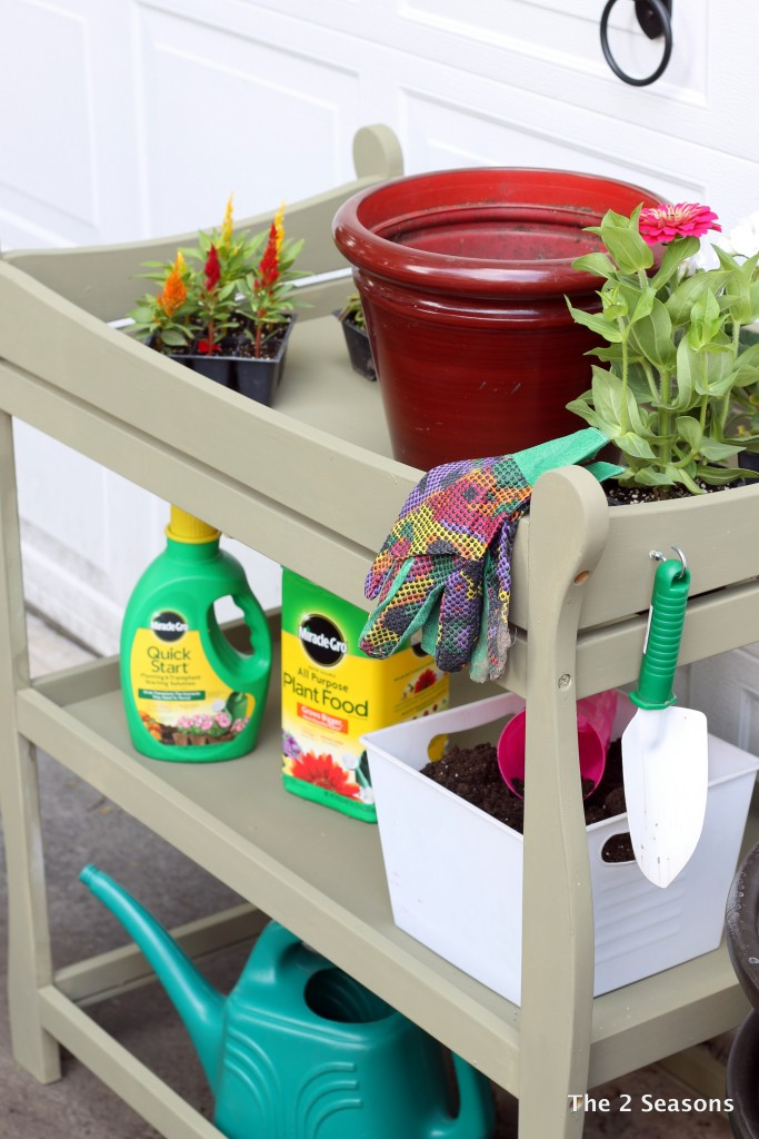 Changing table turned into a potting bench