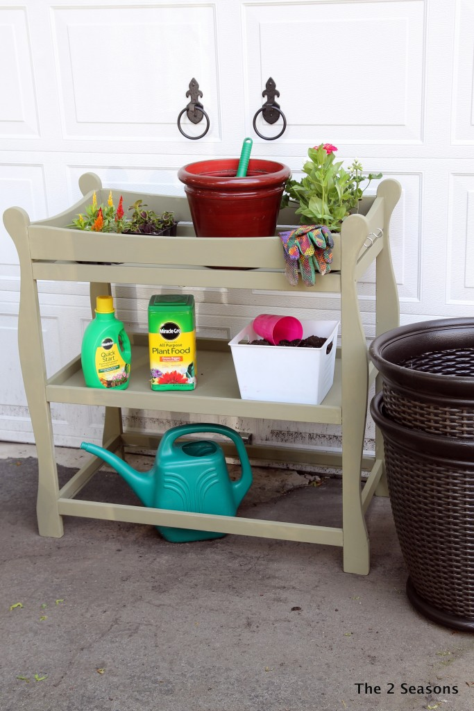 Baby changing table into a potting bench.