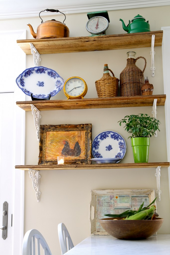 Rustic kitchen shelves
