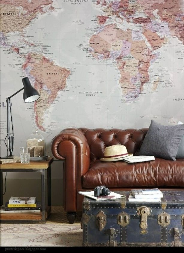 tuftead leather sofa old map wall decor - A Visit With Everything But The House