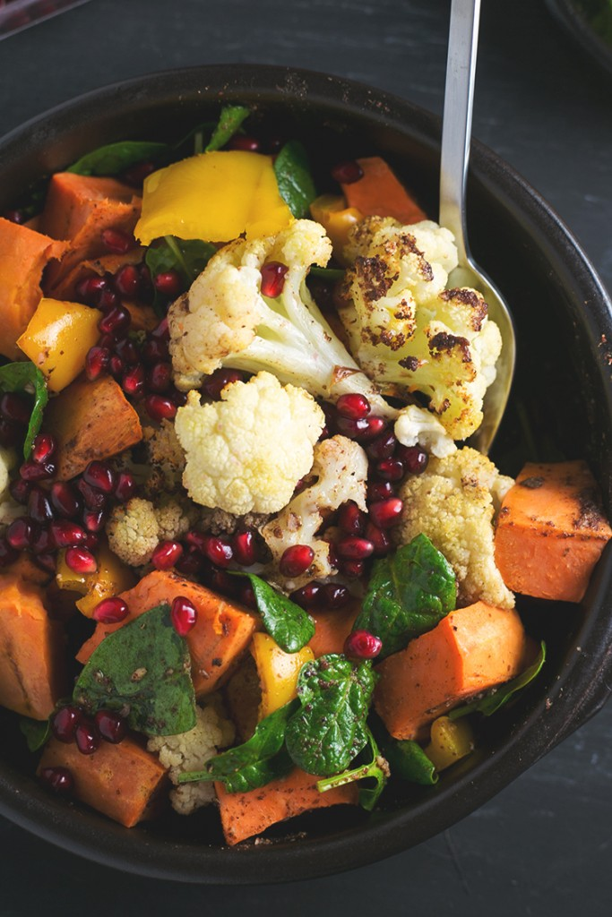 Roasted Cauliflower and Sweet Potato Saladwith Cumin Sumac Dressing 683x1024 - The Seasons' Saturday Selections
