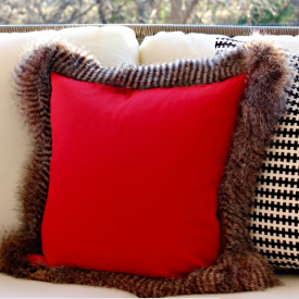 Fur trimmed pillow from Dimples and Tangles