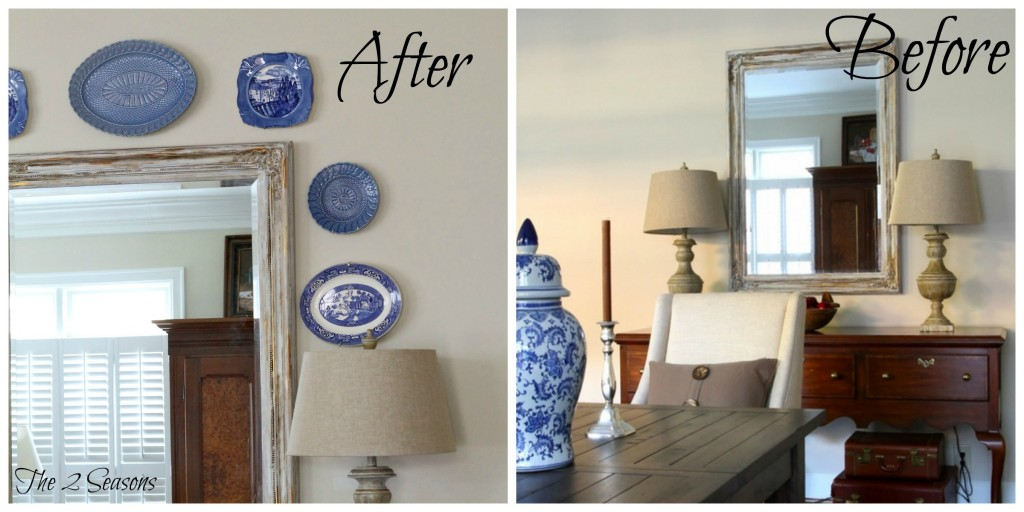 Blue plates add color to a neutral wall. - The 2 Seasons