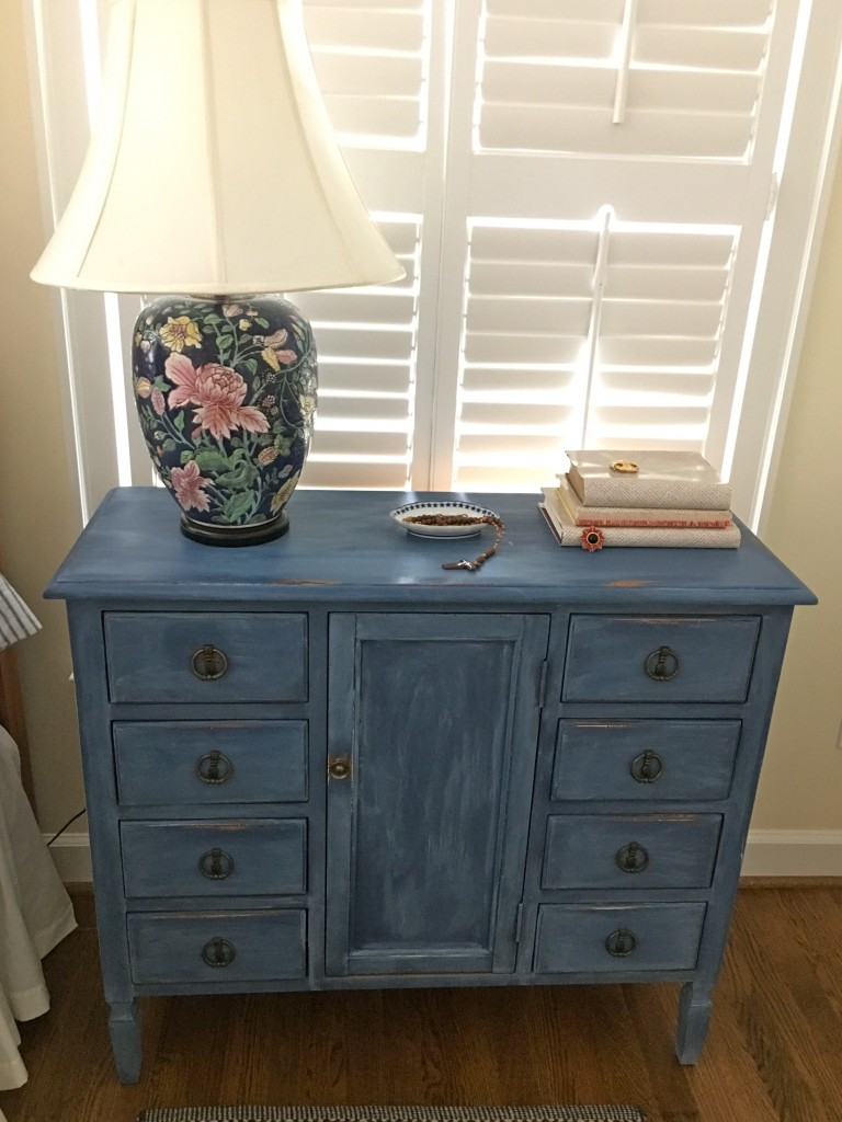 Napoleonic blue night stand with limed wax - The 2 Seasons