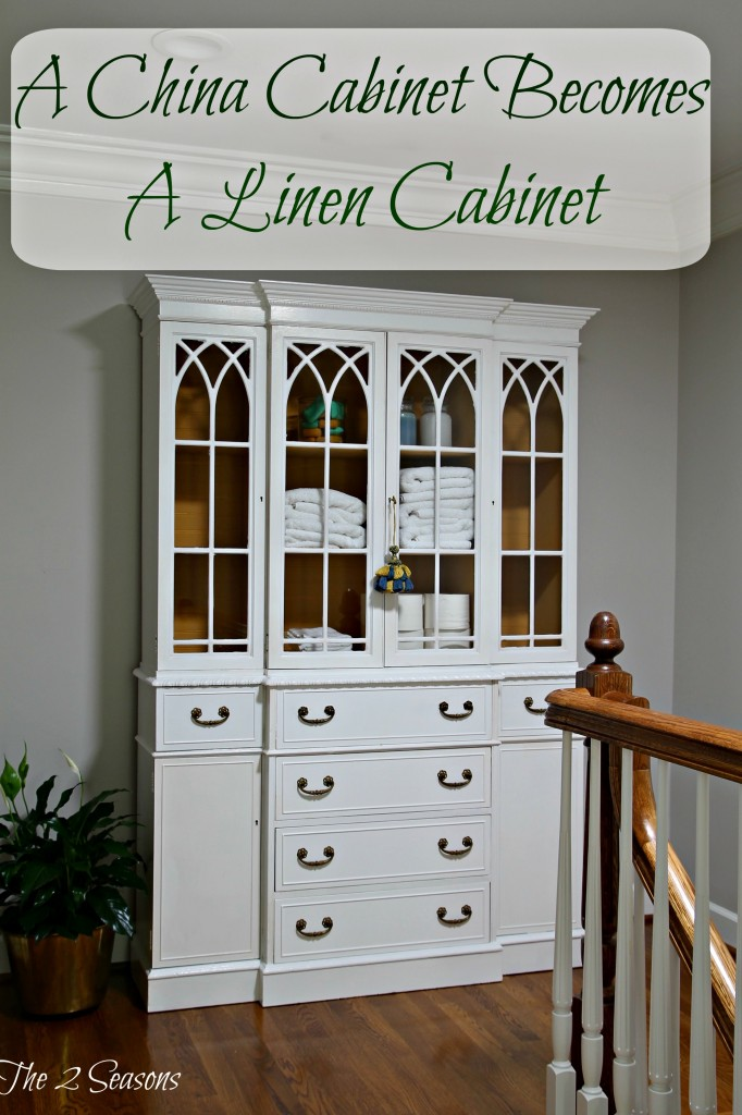 Convert a china cabinet to a linen cabinet