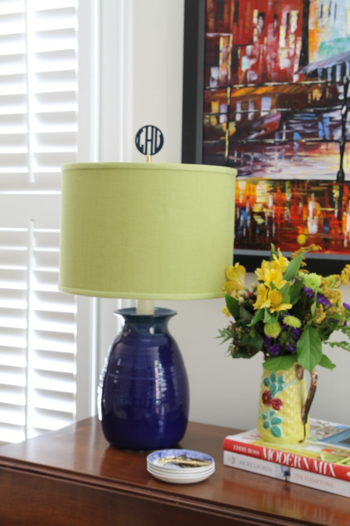 Monogrammed finial on lamp - The 2 Seasons