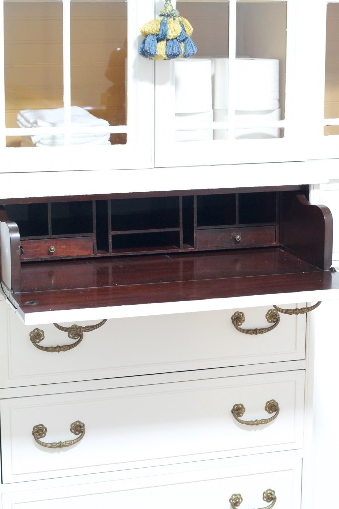 Convert a china cabinet to a linen cabinet - The 2 Seasons