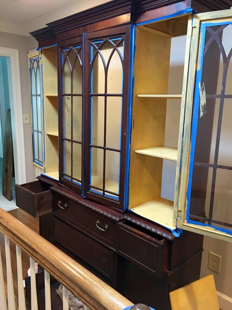 Converting a china cabinet to a linen cabinet - The 2 Seasons