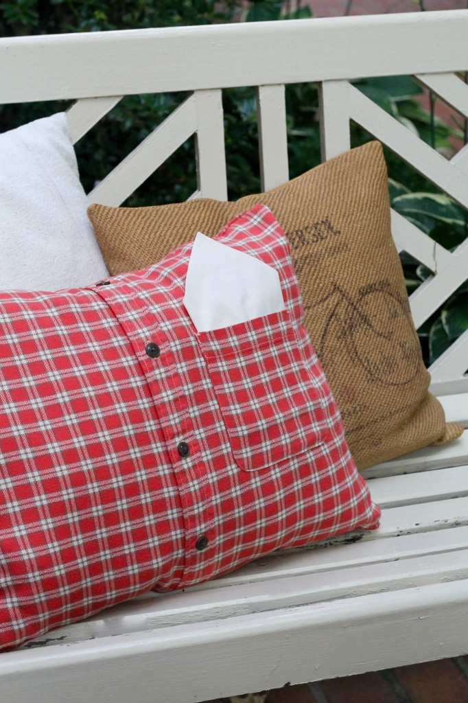 DIY Flannel Shirt Pillow - The 2 Seasons