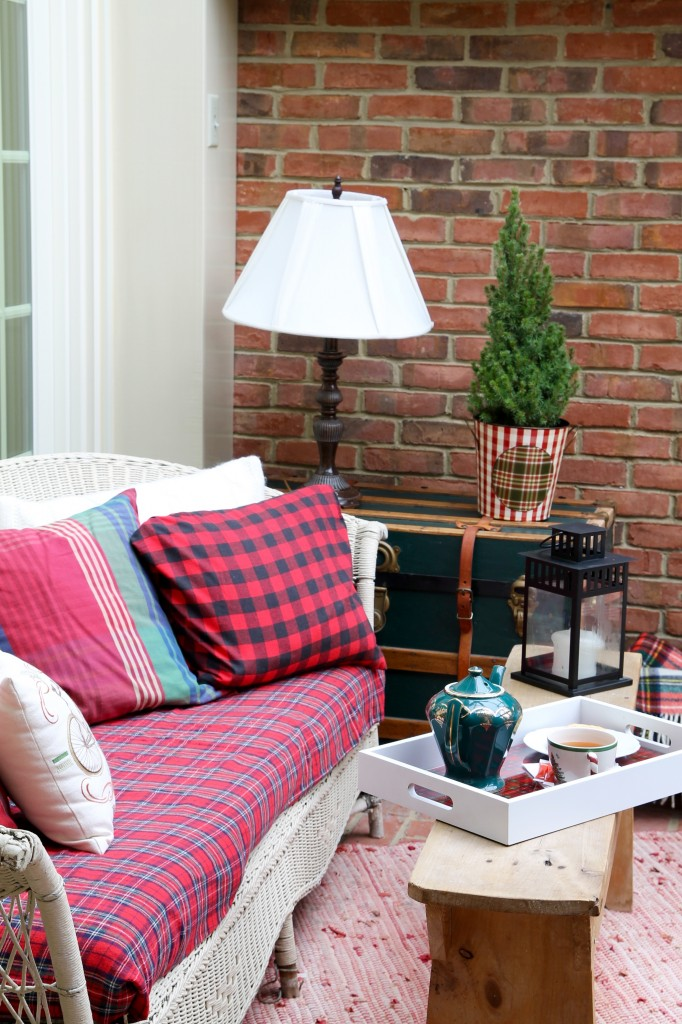 Plaid tray in sunroom - The 2 Seasons