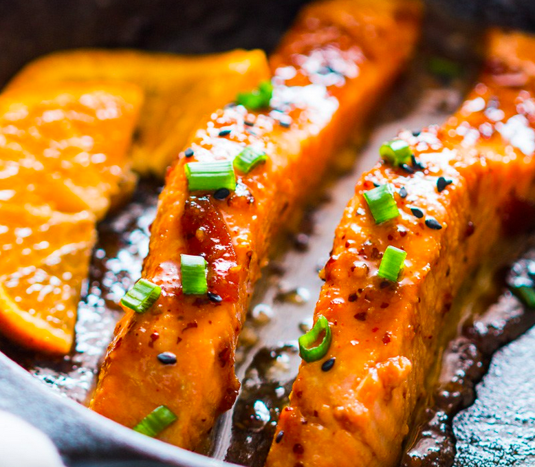 Screen shot from My Food Story - Pan seared orange mustard salmon