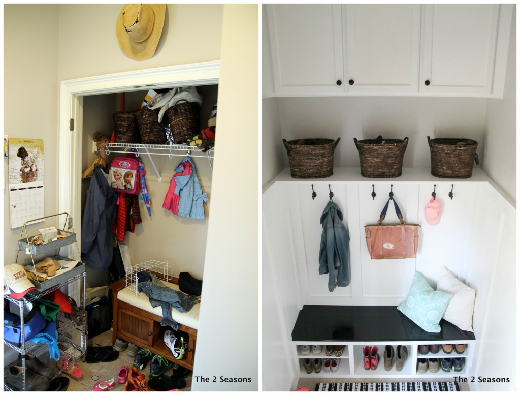 Pic Collage Before and After 1024x777 - The Closet Becomes a Mudroom - Revisited
