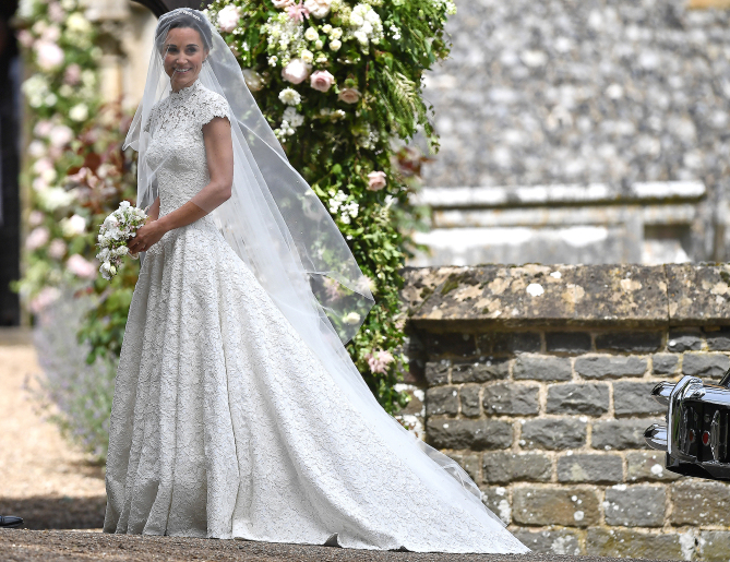 ENGLEFIELD GREEN, ENGLAND - MAY 20: Pippa Middleton  arrives for her wedding to James Matthews at St Mark's Church on May 20, 2017 in Englefield Green, England.  (Photo by Justin Tallis - WPA Pool)