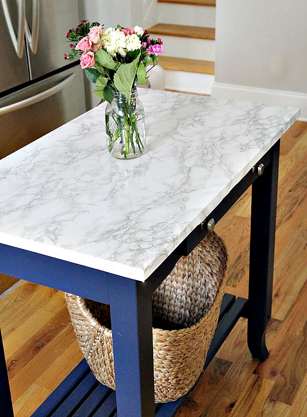 After island blog - DIY Marble Top Kitchen Island