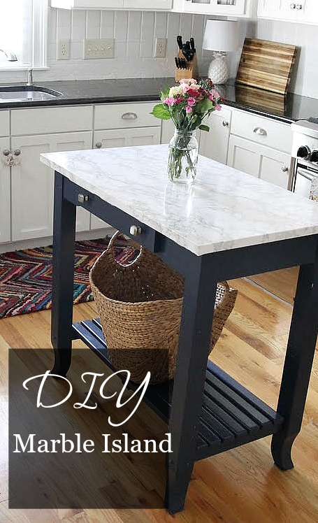 DIY Marble Island - DIY Marble Top Kitchen Island