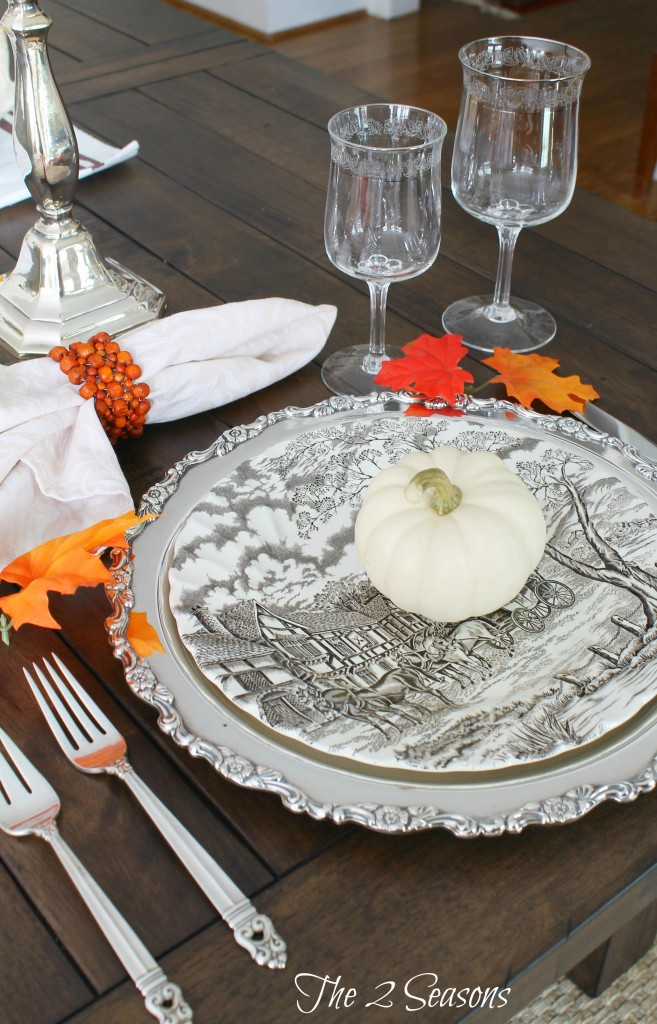 Use silver trays as chargers for your holiday table - The 2 Seasons