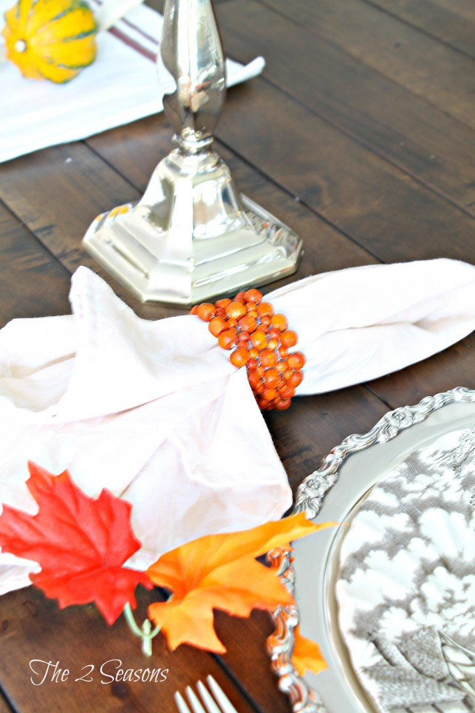 Thanksgiving table idea - Use silver trays as chargers - The 2 Seasons