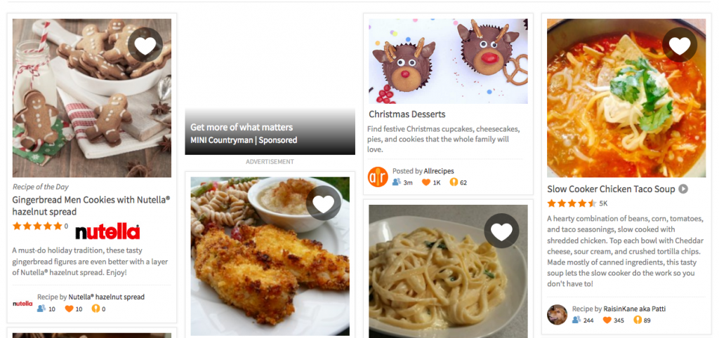 Screen shot from Allrecipes.com