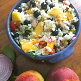 Peachy Rice Salad - The 2 Seasons