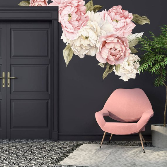 Peony Decals 1 - How to Decorate a Blank Wall