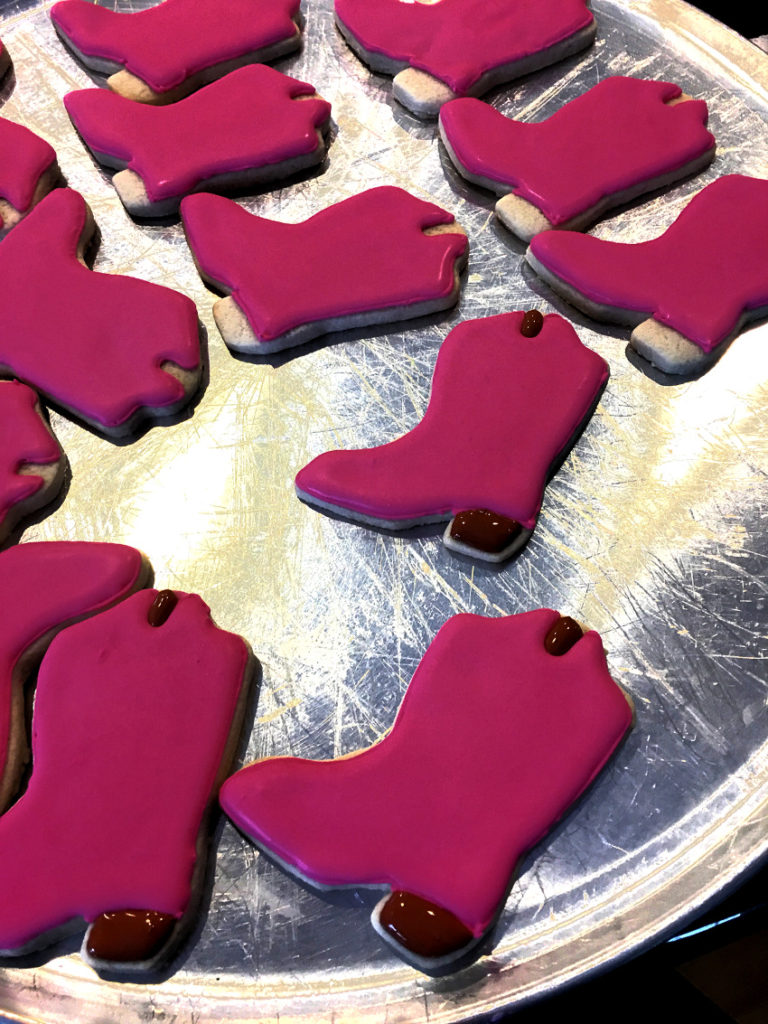 Cookies first coat 768x1024 - Cowgirl Boot Sugar Cookies