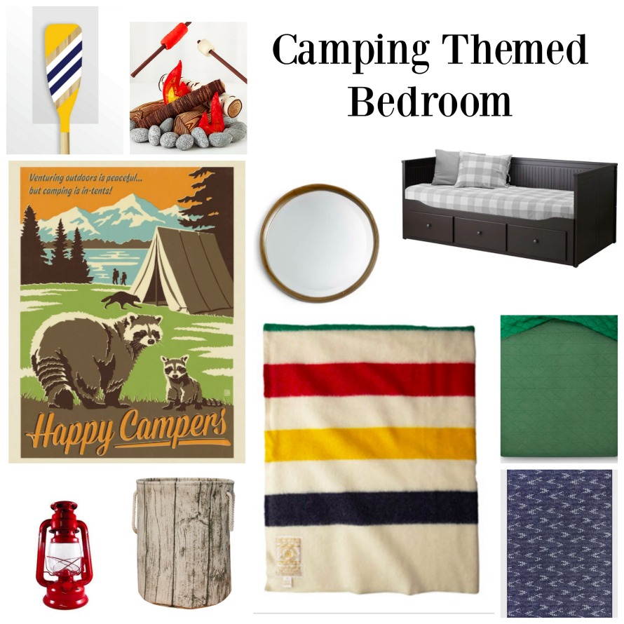 Camping theme collage - Toddler Boy's Camping Themed Bedroom