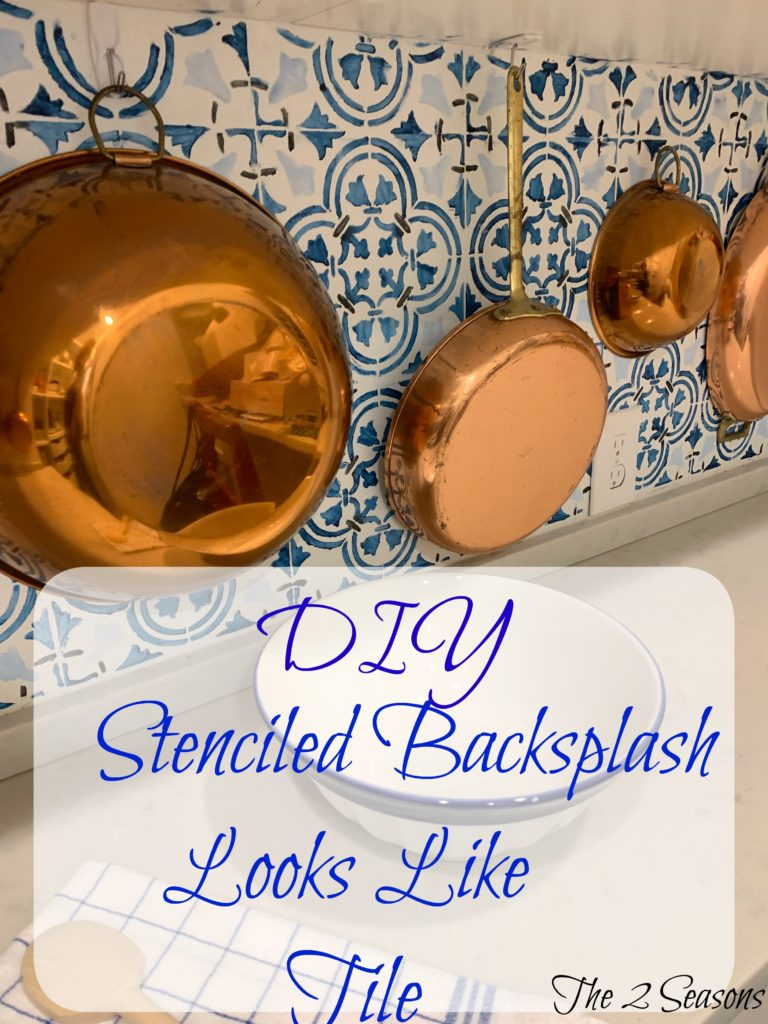DIY20Stenciled20Backsplash 768x1024 - A Backsplash for the Pantry